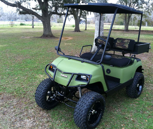 Customercarts jakesliftkits xtreme golf carts angleton tx 1999 yamaha g16 electric w jakes long travel jakes front brush guard and much more solutioingenieria Images