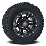 Set of (4) GTW 10 inch Specter Matte Black Wheels on Barrage Mud Tires