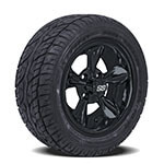 Set of (4) 12 inch Black Godfather Wheels on Lo-Profile Tires