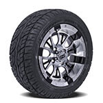 Set of (4) 12″ Diesel Machined/ Black Wheels on Lo-Profile Tires