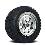 Set of (4) 14 inch Rally Beadlock Wheels on A/ T Tires