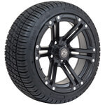 Set of (4) GTW 14inch Specter Matte Black Wheels on Lo-Pro Tires